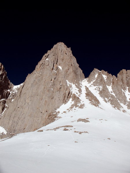 Looking up at the East Face of Mt Whitney and the Mountaineer's Route from Iceberg Lake, June 2011