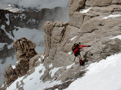 Rock Climbing Photo: JD rappelling past the mixed steps above the notch...