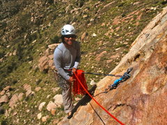 Rock Climbing Photo: Brother Robert after his lead of P1 on Leonids - E...