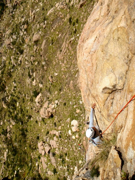 Rock Climbing Photo: Reaching for the sweaty crimp on P2
