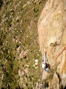 Rock Climbing Photo: Reaching for the sweaty crimp on P2