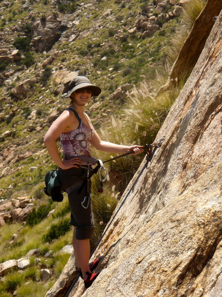 Rock Climbing Photo: Katie sportin' her killer shades/hat combo...  Bea...