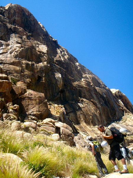 Rock Climbing Photo: Stopped to watch other climbers on the ominous bla...