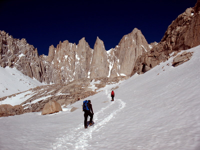 Approaching Whitney's Mountaineer's Route, above Upper Boyscout Lake