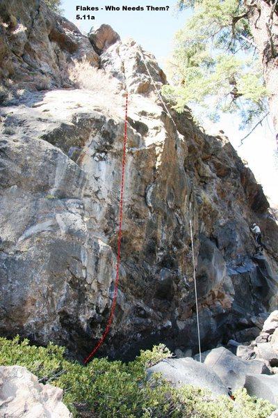 Rock Climbing Photo: Flakes - Who Needs Them? 5.11a Topo