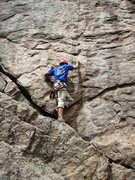 Rock Climbing Photo: Bill, about to leave the lower ramp on Waffle Hous...