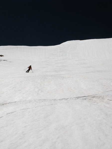 Dropping down the NE face of Mt. Nimbus (12.7k) from the summit on 6/10/11.