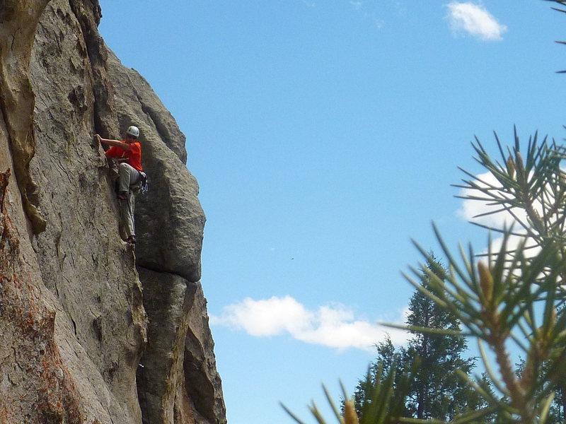 Rock Climbing Photo: Bill in the middle, featured part of the route. Ju...