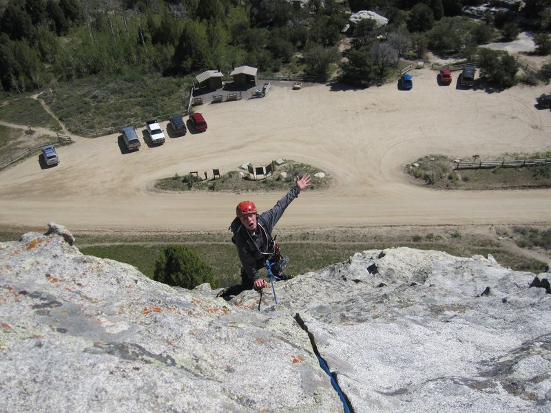 Rock Climbing Photo: Noah coming over the crest at the top.
