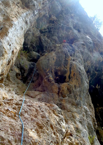 Right before traversing left on to the real climbing in of Alabalik.  Geyikbayiri-Turkey.