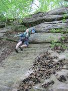 Rock Climbing Photo: Joshua follows Silver Dollar.