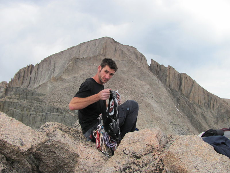 Rock Climbing Photo: On the summit of Pagoda with Longs in the backgrou...