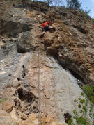 Rock Climbing Photo: On the flake pulling on jugs.  Olympos Turkey