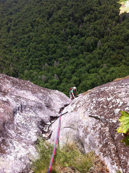Johanna finishing up the last pitch of Groover, Laurel Knob, NC.