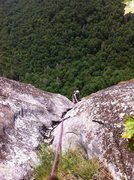 Rock Climbing Photo: Johanna finishing up the last pitch of Groover, La...