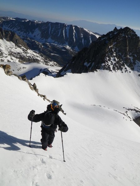 Davi Rivas on North Couloir, Mt Sill, 2011.
