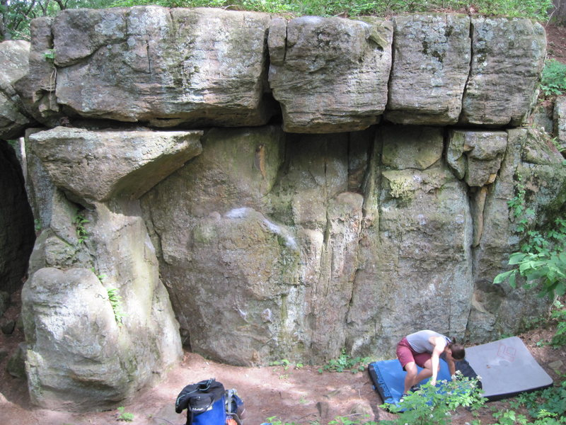 Rock Climbing Photo: Smack right is the center crack. Start right or le...
