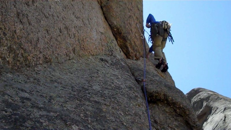 Rock Climbing Photo: Trying to free the crux pitch.