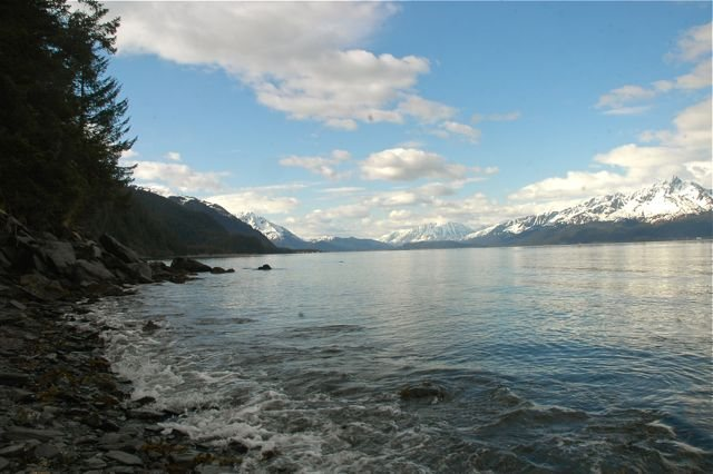 View toward Seward and Lowell Point from out in Resurrection Bay