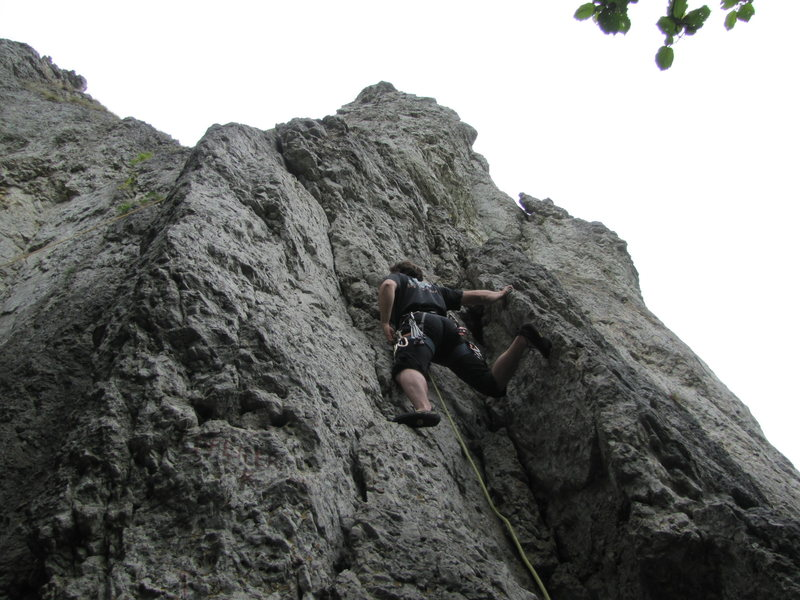 Me about to place a nut, which blew as soon as the rope was weighted. The first bolt is another 10 feet up from where I am.