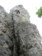 Rock Climbing Photo: Here you can see the three bolts that the book sho...