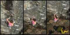 Rock Climbing Photo: Fall sequence, lily falls from the 5th bolt...