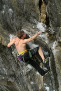 Rock Climbing Photo: otey reaches for the invisible sidepull as he ente...