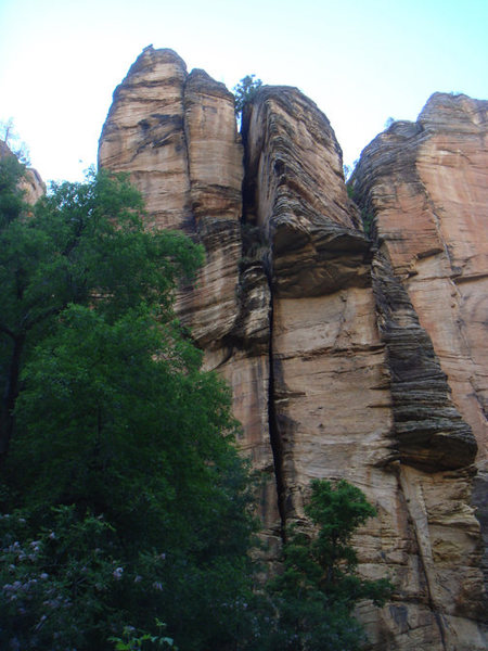 Rock Climbing Photo: P1 wide-then up 100' go left slightly and see P2 c...