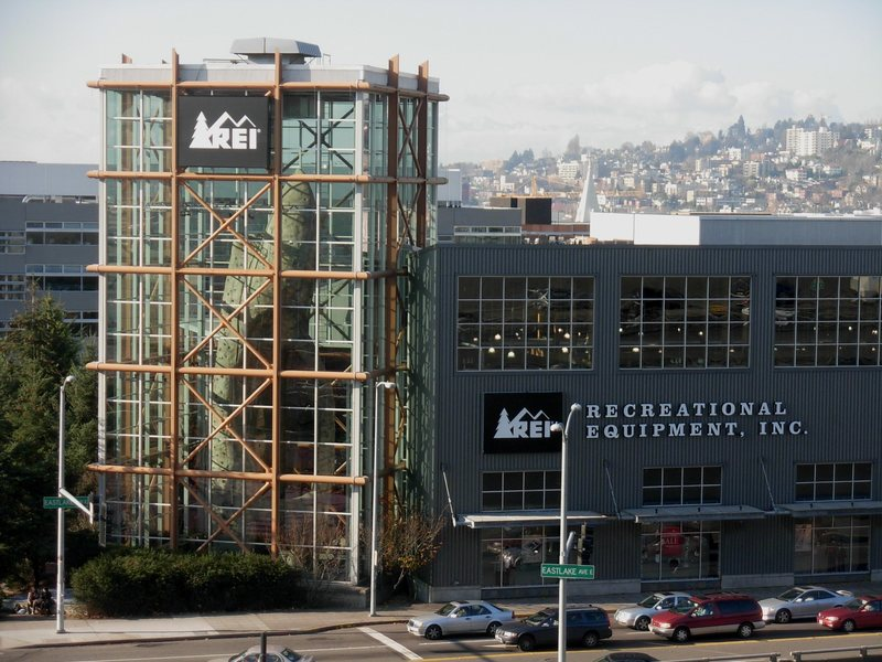 The Pinnacle Climbing Wall seen on the south end of REI's Seattle Flagship store.