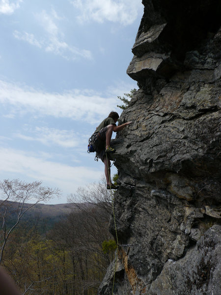 Rock Climbing Photo: Jared stepping up