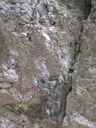 Rock Climbing Photo: Here you can see the name of the route, painted in...