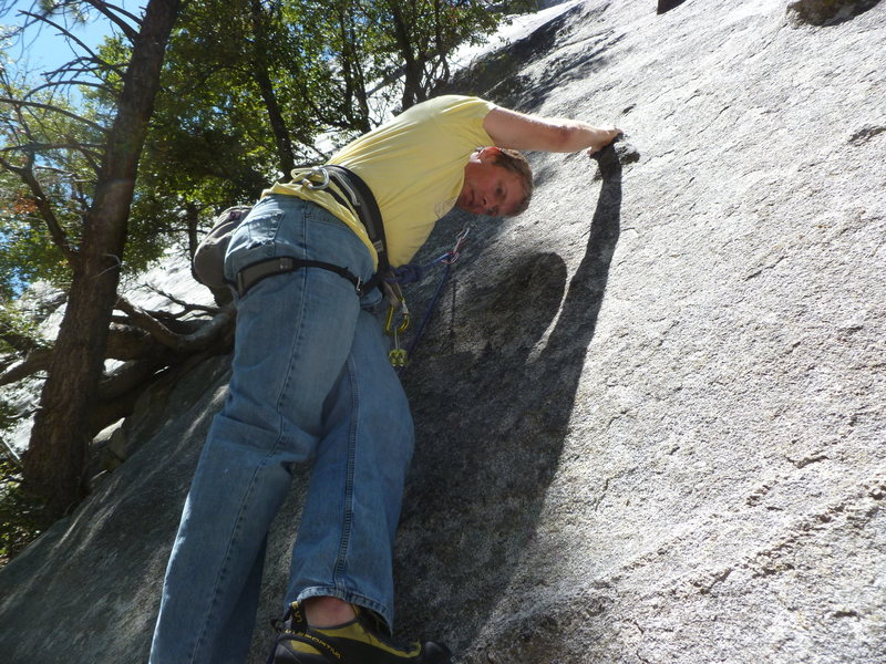 Just below the first bolt.  The crux is getting to the bolt.
