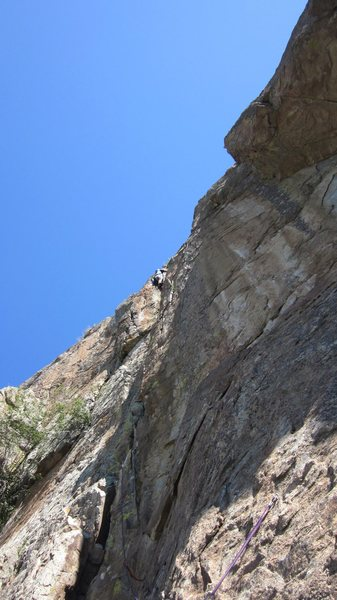 Heading up pitch 2 of Heart of Stone, crux pitch.