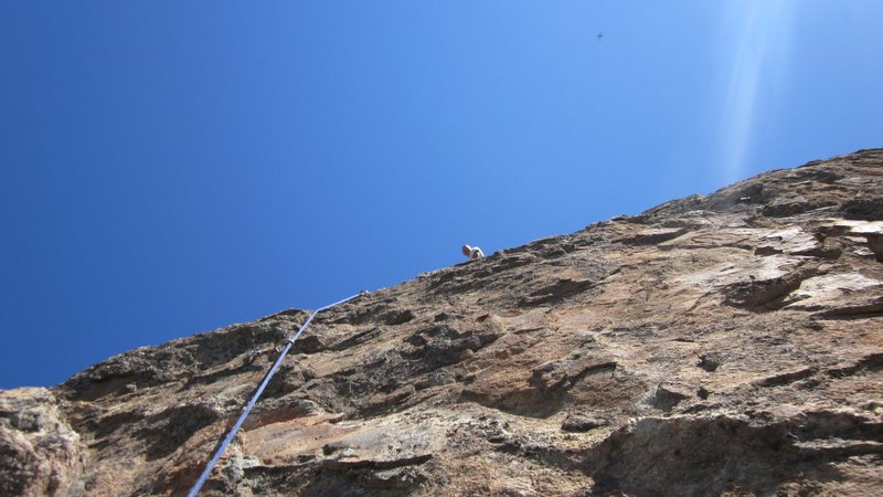Rock Climbing Photo: Looking up at the highly featured rock of pitch 3 ...