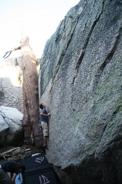 Rock Climbing Photo: A climber on the start of Emerald City, V0