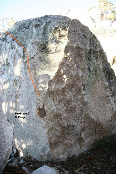 Rock Climbing Photo: Problem C V-Easy, Topo