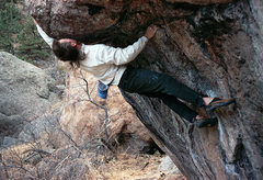 Rock Climbing Photo: Sticking the big reach. The crux is controlling th...