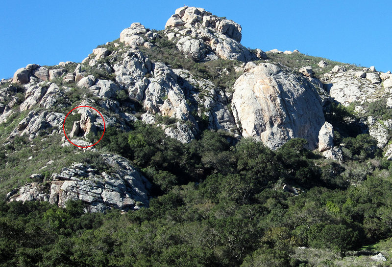 A view of Owl's Perch (circled in red) from the pond on Bishop Peak. You can access the spire by following the trail on the far right side of Cracked Wall. An alternative is to lead Mouse Maze and Knight Moves and tromp through some bushes.