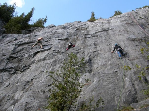 Left to right climbers on Tequila and limestone 5.10a, Chica Bonita 5.7 and Poop deck 5.9
