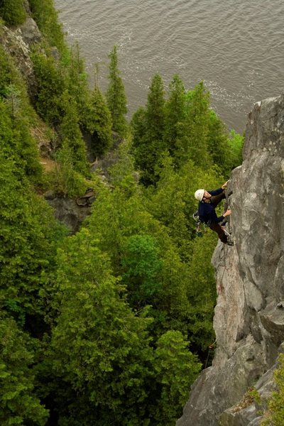 Rock Climbing Photo: Chris H. on the striking arete of MacGruffin