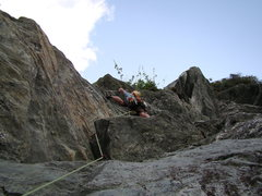 Rock Climbing Photo: pulling the roof/ledge directly after the start of...
