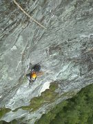 Rock Climbing Photo: looking down at the start of p2 after the airy and...