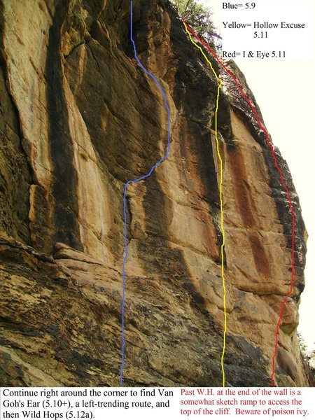 "The 5.9 or .10a is ""Different Strokes.""  The left arm of the Y is ""Refuse To Suffer"" (5.11)."