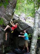Rock Climbing Photo: Travis working COD.  So close!