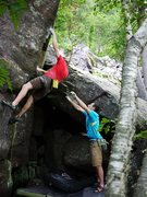 Rock Climbing Photo: Travis establishing on the pinch.  Crux appears to...