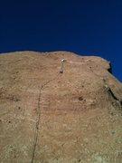 "Rock Climbing Photo: Climber nearing the belay anchor on ""Goldline..."