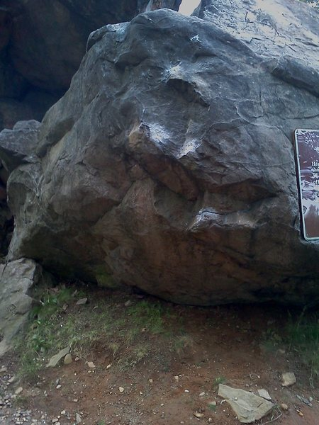 Rock Climbing Photo: Wider shot of the climb with sign to show where it...