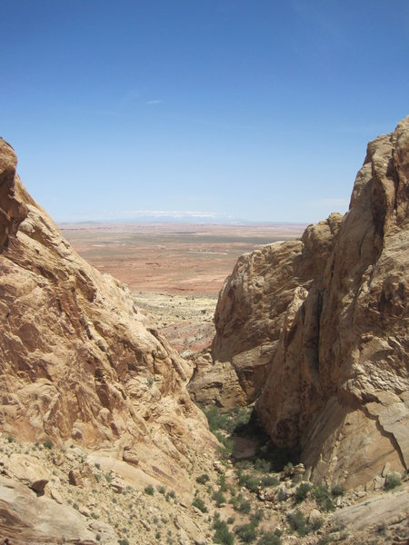 View fron P2 through canyon towards the La Sal Mountains above Moab.