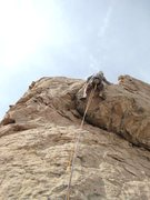Rock Climbing Photo: Paul about to take flight off the buldge of P3.