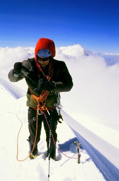 My partner Jimmy on the summit of Huandoy Norte (6395m) in the Cordillera Blanca after we climbed a new variation on the North Face. I was 18 years old at the time (June 2009).
